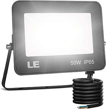 LE Foco LED 50W, 5000 lúmenes, IP65 resistente al agua, Foco LED Exterior, Blanco Frío 5000 K, Ángulo de haz 120°, Foco Proyector LED para Jardín, Garaje, Hotel, Patio, etc.: Amazon.es: Iluminación