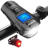 CHILEAF Bike Speedometer with LED Bike Light, Bike Computer with Bike Bell, Bicycle Headlight Taillight IP65 Waterproof…