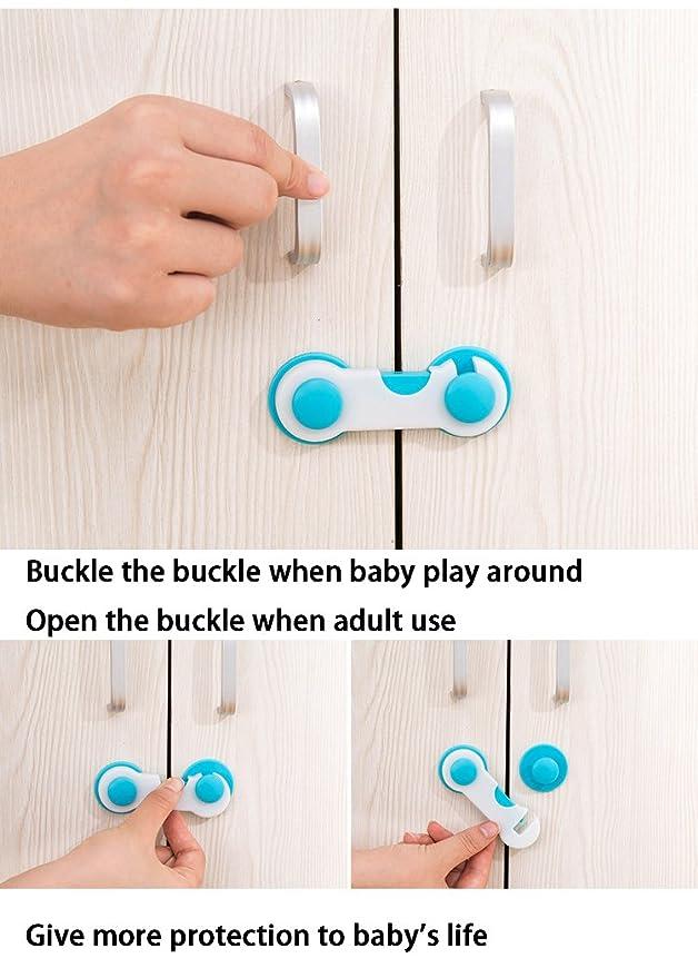 10pcs Cierre de seguridad armario Locks bebé correa para niños para puerta nevera cajón armario sin necesidad de agujeros: Amazon.es: Bebé