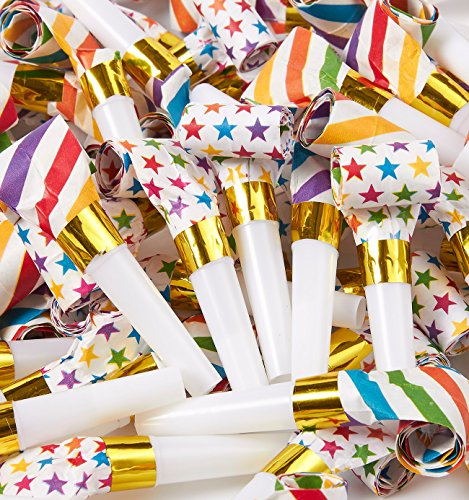 100-Pack Party Blowers in 2 Colorful Designs - Plastic Blow Out Noisemakers, Party Horns for Birthdays, New Year, and other Celebrations - 3.3 x 1 x 1.1 (Wedding Noisemakers)