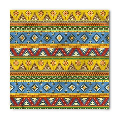 Ambesonne Unisex Bandana, Aztec Folk Motif Mexican Sun, Orange Yellow