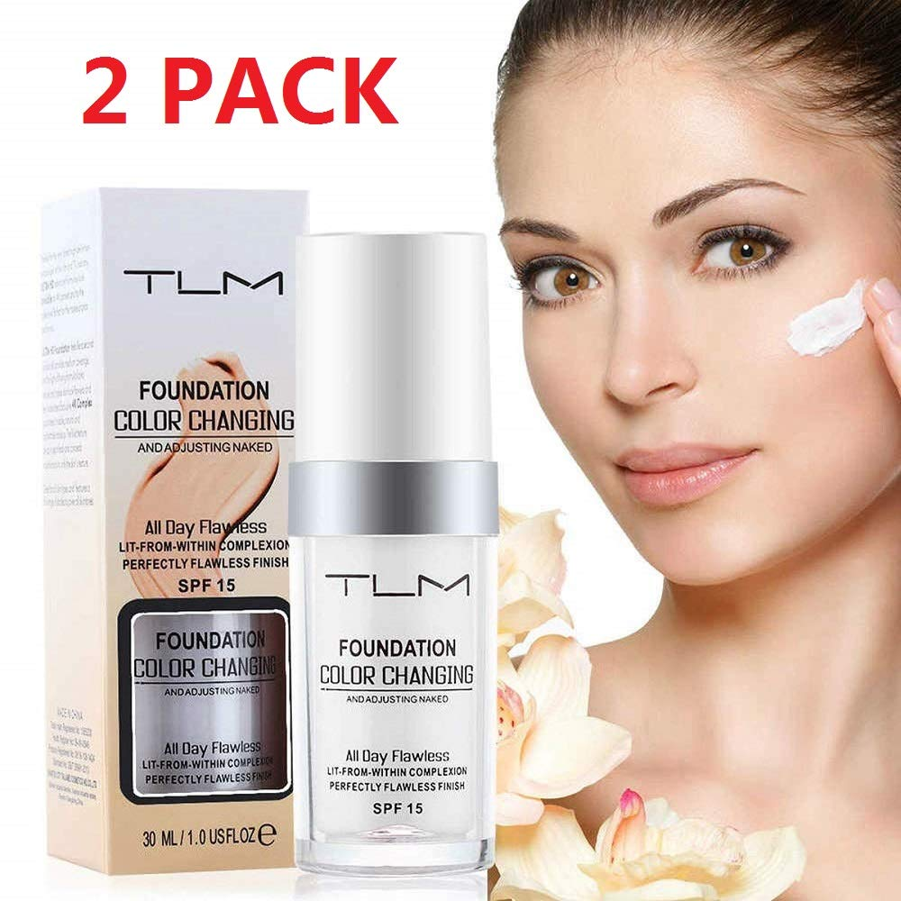 2PACK TLM Concealer Cover,Flawless Colour Changing Warm Skin Tone Foundation Makeup,Base Nude Face Moisturizing Liquid Cover Concealer for Women And Girls