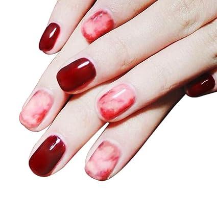 lzndeal 24 pcs/set 3d uñas postizas con adhesiva Face Mignon completo enveloppé Nail consejos