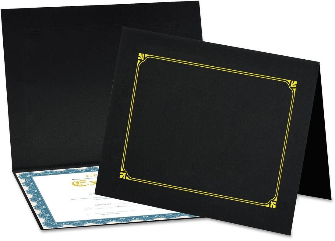 Universal 76895 Certificate/Document Cover, 8 1/2 x 11/8 x 10/A4, Black, 6/PK