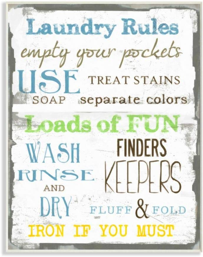 Stupell Home Décor Laundry Rules Typography Bathroom Wall Plaque, 10 x 0.5 x 15, Proudly Made in USA