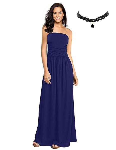 BUOYDM Mujer Vestido Playa de Fiesta Largos Elegante Imprimir Florales Maxi Vestidos Azul Small