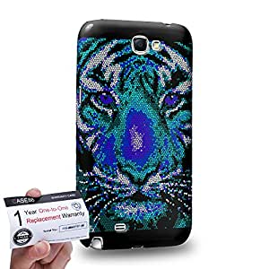 Case88 [Samsung Galaxy Note 2] 3D impresa Carcasa/Funda dura para & Tarjeta de garantía - Art Aztec Design Blue Tiger Animal Faces
