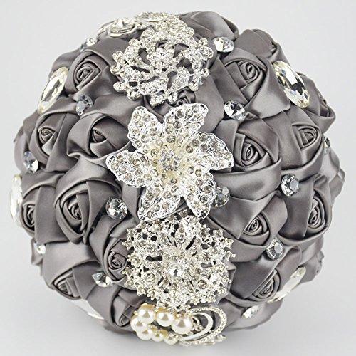 Ziye Shop Luxury Handmade Romantic Wedding Bride Holding Bouquet Silk Roses with Diamond Pearl Ribbon Valentine's Day Bouquet Confession (Dark (Rose Silk Ribbon)