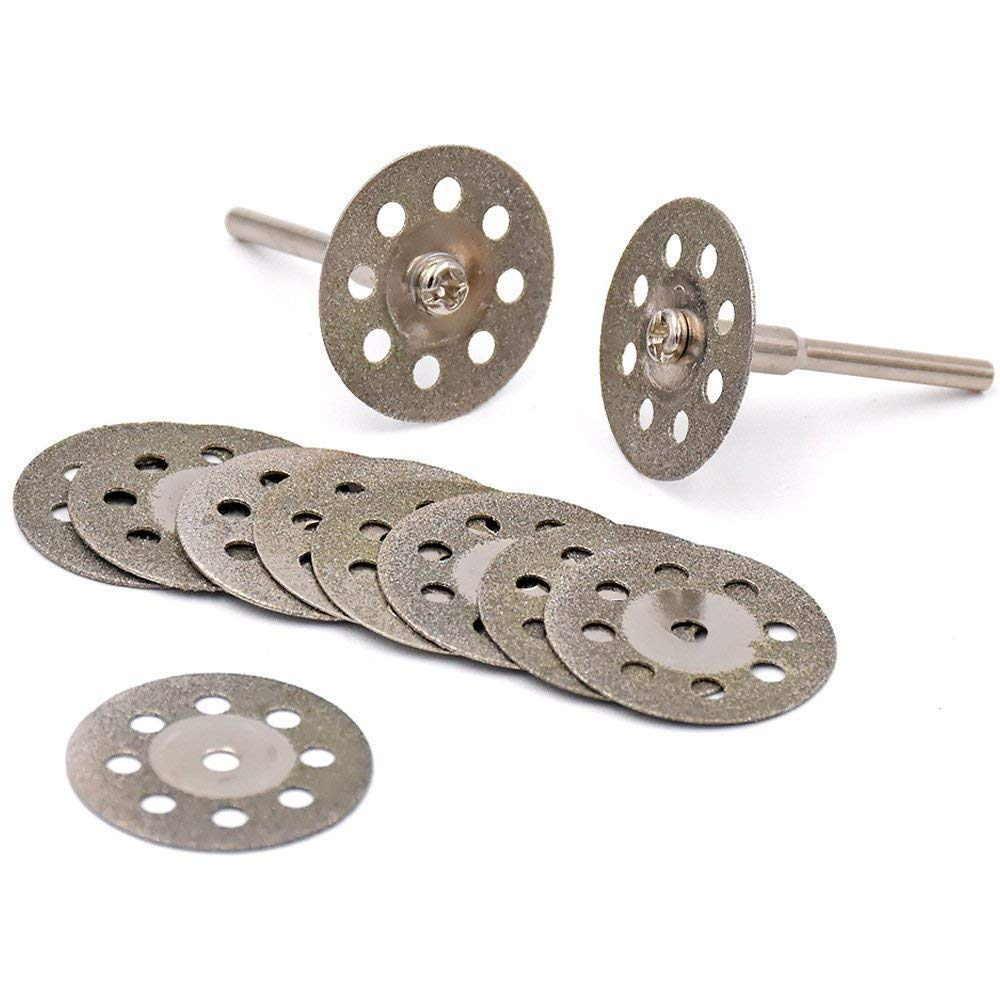 Lukcase 10 pcs Diamond Cutting Wheel Cut Off Discs Coated Rotary Tools W/Mandrel 30mm for Dremel
