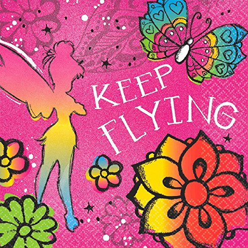 amscan Disney Tinker Bell - Keep Flying Luncheon Napkins Birthday Party Tableware Supply (16 Pack), Multi Color, 6.5