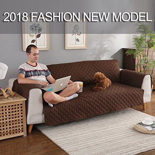 YESHOME Sofa Cover slipcovers-Quilted Upgrade Anti-slip Couch Covers-Waterproof Sofa Protector With Elastic Strap-Furniture Cover For Dogs Pet (Sofa Oversized, Brown-Gray)
