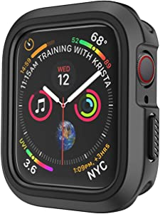 Compatible Apple Watch Case 44mm Series 6/5/4/SE, Shockproof and Shatter-Resistant Protective Bumper Cover iwatch Case, Black