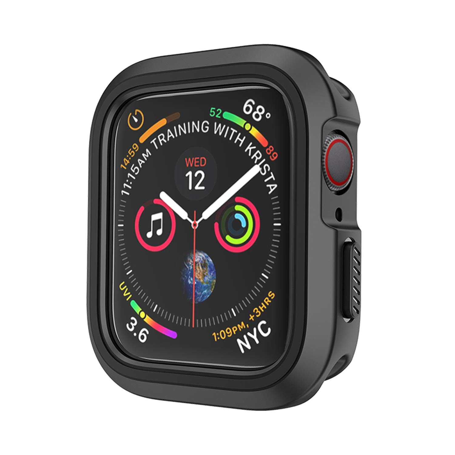 Compatible Apple Watch Case 44mm Series 4 Series 5, Shockproof and Shatter-Resistant Protective Bumper Cover iwatch Case, Black