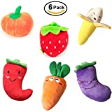 Squeaky Dog Toys MoYag 6 Pack Plush Pet Toys Best Durable Chew Toy for Puppies and Small Dogs Cute Fruit & Vegetable Designs