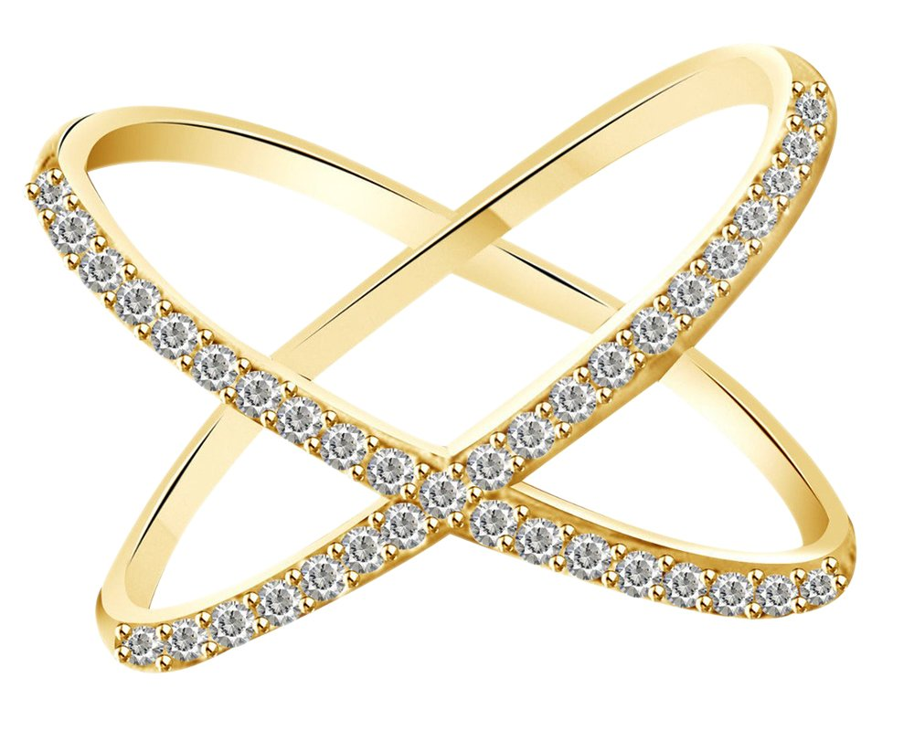 White Natural Diamond Criss Cross ''X'' Fashion Ring In 10k Solid Yellow Gold (0.26 Cttw) Ring Size - 8