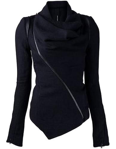 Minetom Mujer Otoño Invierno Color Sólido Irregular Collar Montones Delgado Calentar Lana Chaquetas Abrigos