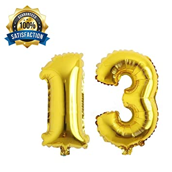 13th Gold Number Balloons Birthday Balloon Party Supplies Decorations Foil Ballooncan Be Used