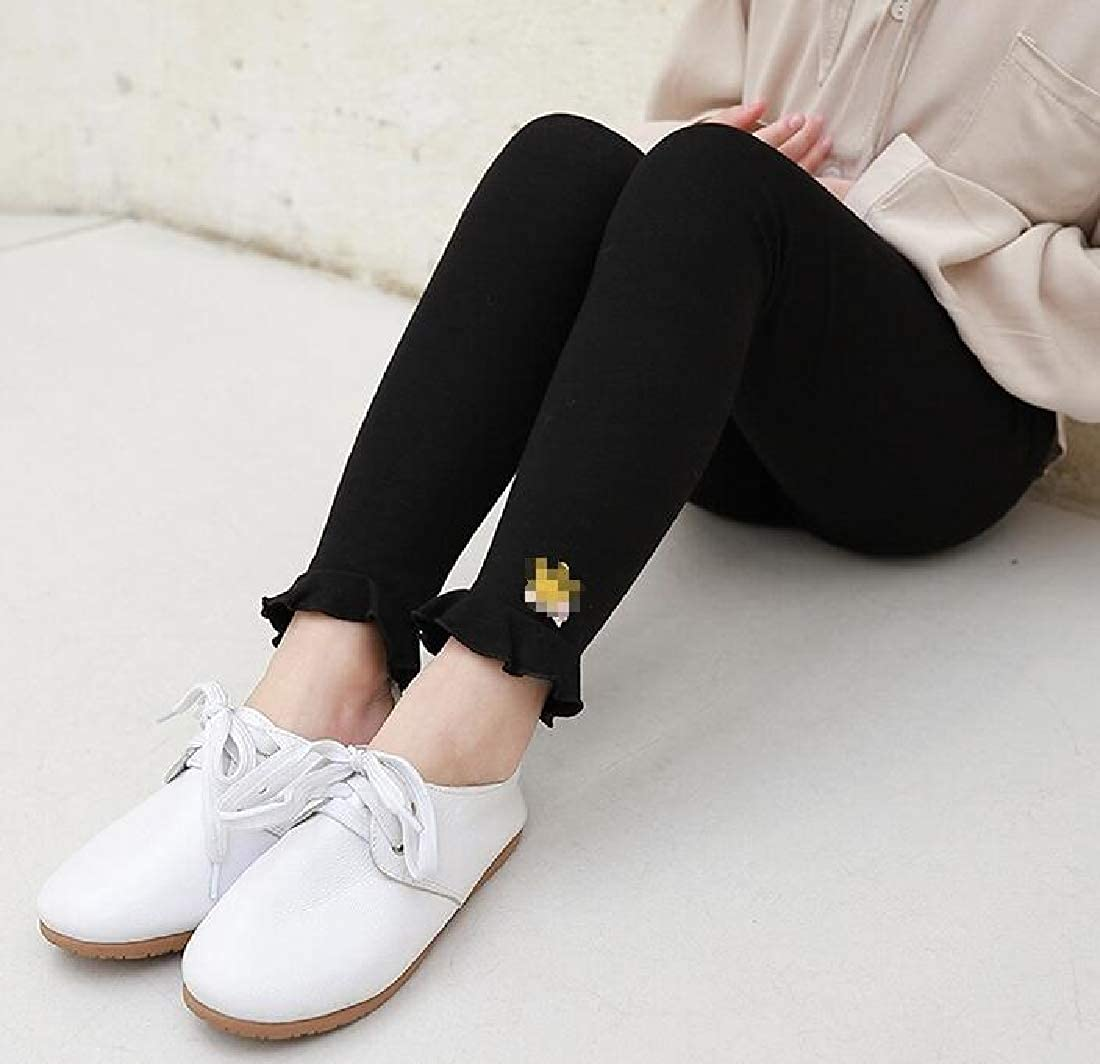 Wofupowga Girls Cute Cotton Pants Ruffles Stretchy Elastic Waist Legging