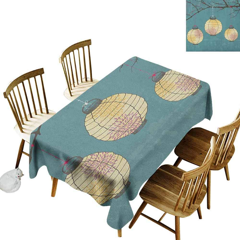 DONEECKL Lantern Durable Tablecloth Washed Three Paper Lanterns Hanging on Branches Lighting Fixture Source Lamp Boho Teal Pale Yellow W60 xL102