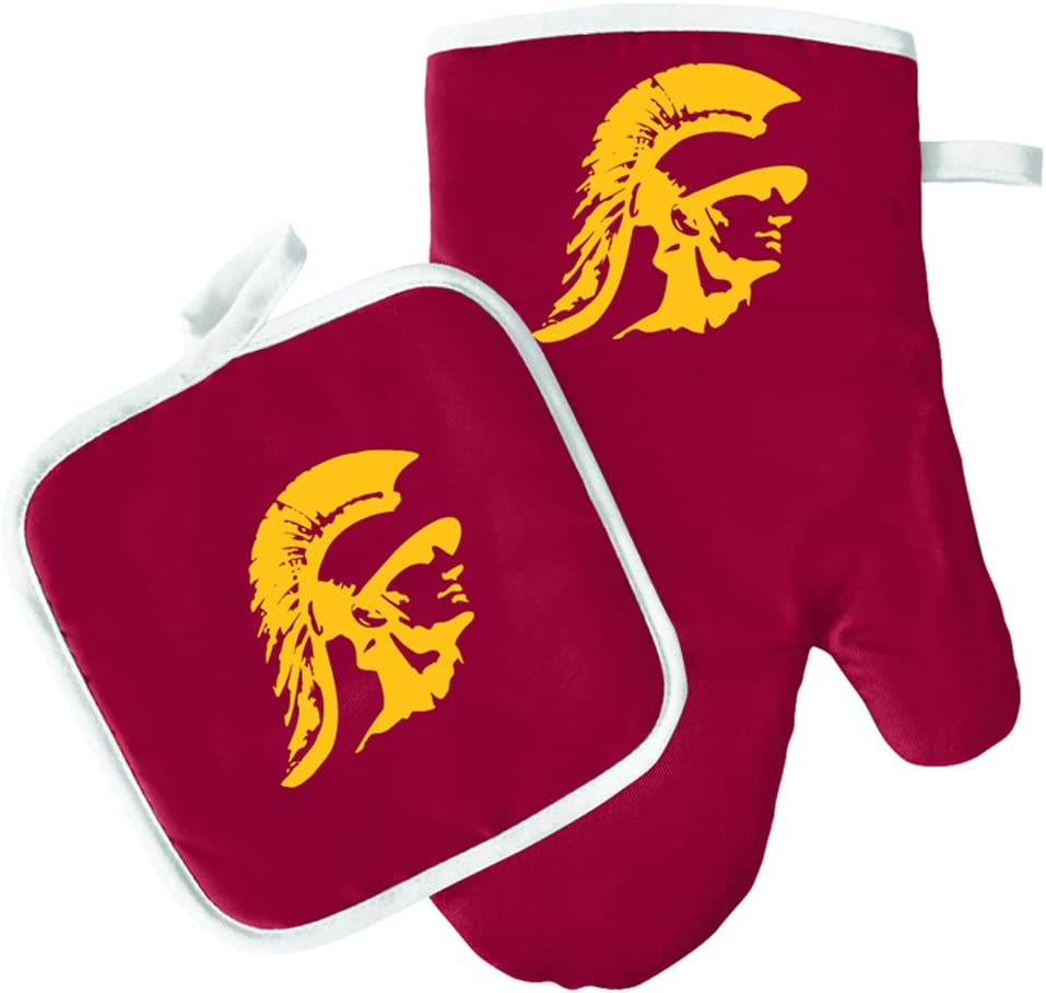 Pro Specialties Group Oven Mitt and Pot Holder Set - Barbeque BBQ Kitchen Backyard Outdoors - NCAA - Southern California Trojans
