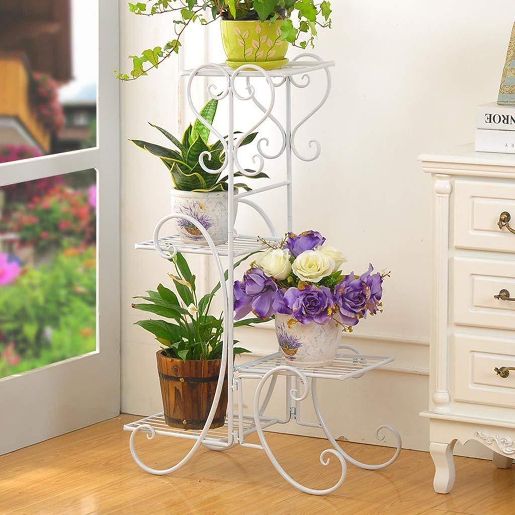 AILIWEI Espositore Bonsai, Europeo Multi Layer Ferro Flower Stand Piano Flower Pot Rack Indoor e Outdoor Balcone Soggiorno Flower Stand Plant Display Rack (colore   Bianca)