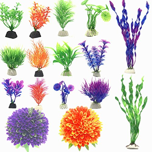 Fycooler 16 Pack Artificial Aquarium Plants,Fish Tank Artificial Plant Vivid Simulation Size 3 to 12 inch Approximate Height Fish Tank Decorations Home Décor Plastic Assorted Color by Fycooler