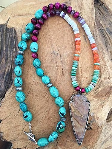 Pave Multi Frame (Pave Diamond Arrowhead Necklace with Turquoise Chrysoprase Carnelian Magenta Tigers Eye Mystic Labradorite Amethyst Blue Lace Agate and Moonstone)