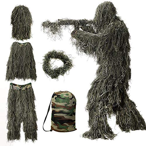 MOPHOTO 5 in 1 Ghillie Suit, 3D Camouflage Hunting Apparel Including Jacket, Pants, Hood, Rifle Wrap, Carry Bag Suitable for Unisex Kids/Children