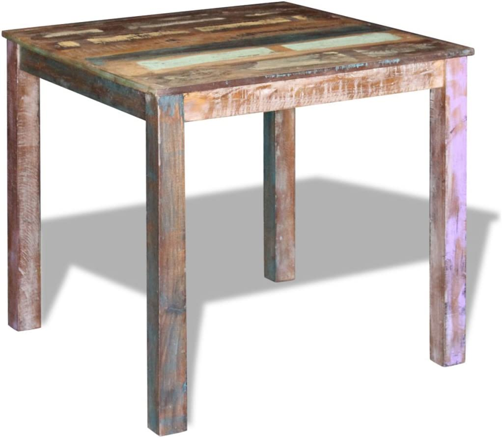 Amazon Com Festnight Retro Dining Table Reclaimed Wood Side Desk Square Tall Coffe Table Handmade Dining Room Kitchen Home Furniture 32 X 32 X 30 Sports Outdoors