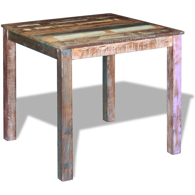 Festnight - Mesa de comedor para exterior (80 x 82 x 76 cm, madera ...