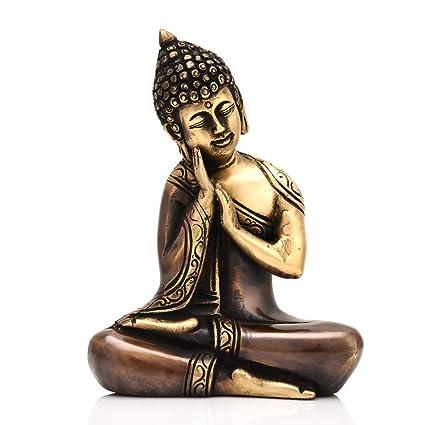 Amazon Com Craftvatika Brass Resting Buddha Statue