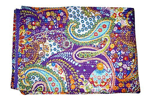 Purple Ethnic Kantha Paisley Print Quilt, Handmade Kantha Decorative Bed-cover, Queen Size Traditional Kantha Blanket,