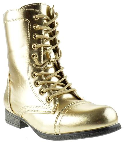 timeless design ec958 350b5 Surprise 13 Womens Shine Metallic Lace Up Combat Boots