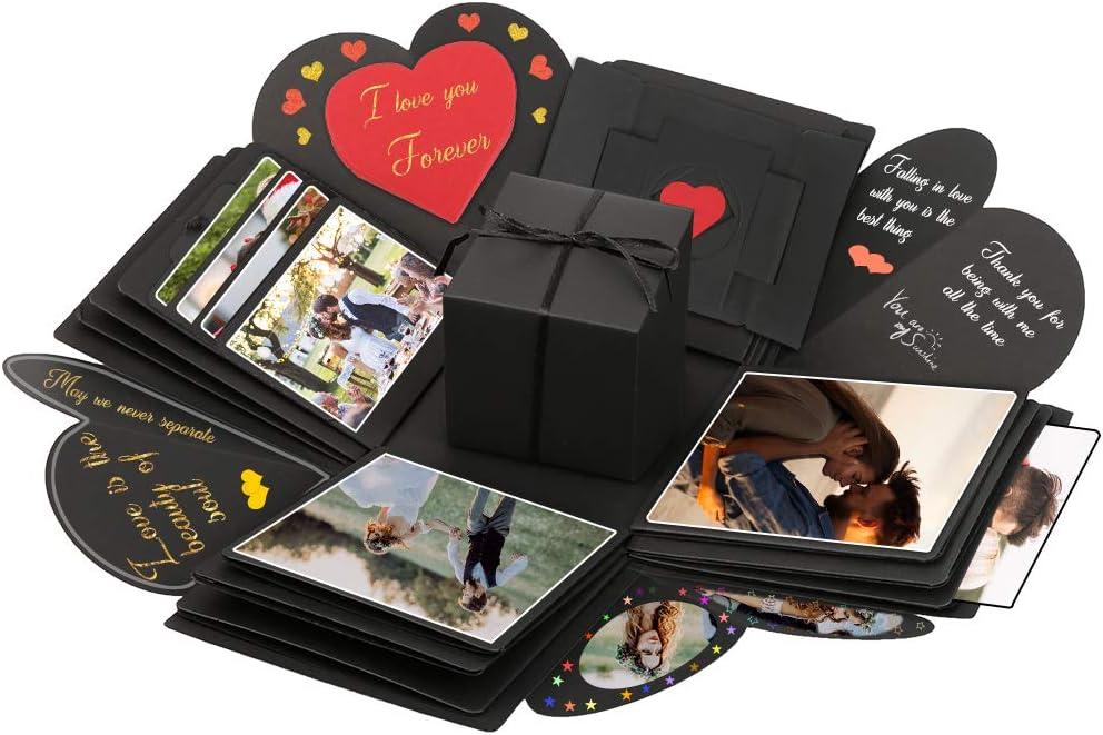 Vegena Explosion Box, Caja de Regalo Scrapbook Creative Explosion Love Memory DIY Álbum para Cumpleaños Aniversario Boda San Valentín Día de la Madre Navidad (Negro)