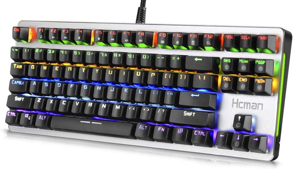 Hcman Mechanical Keyboard Blue Switches,21 LED Backlit Modes Gaming Keyboard,Metal Plate 100% Anti-ghosting for Computer PC & Mac Gamers (Silver)