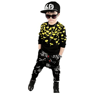 FTSUCQ Boys Pullover Sports Tracksuits Shirt Coat + Harem Pants