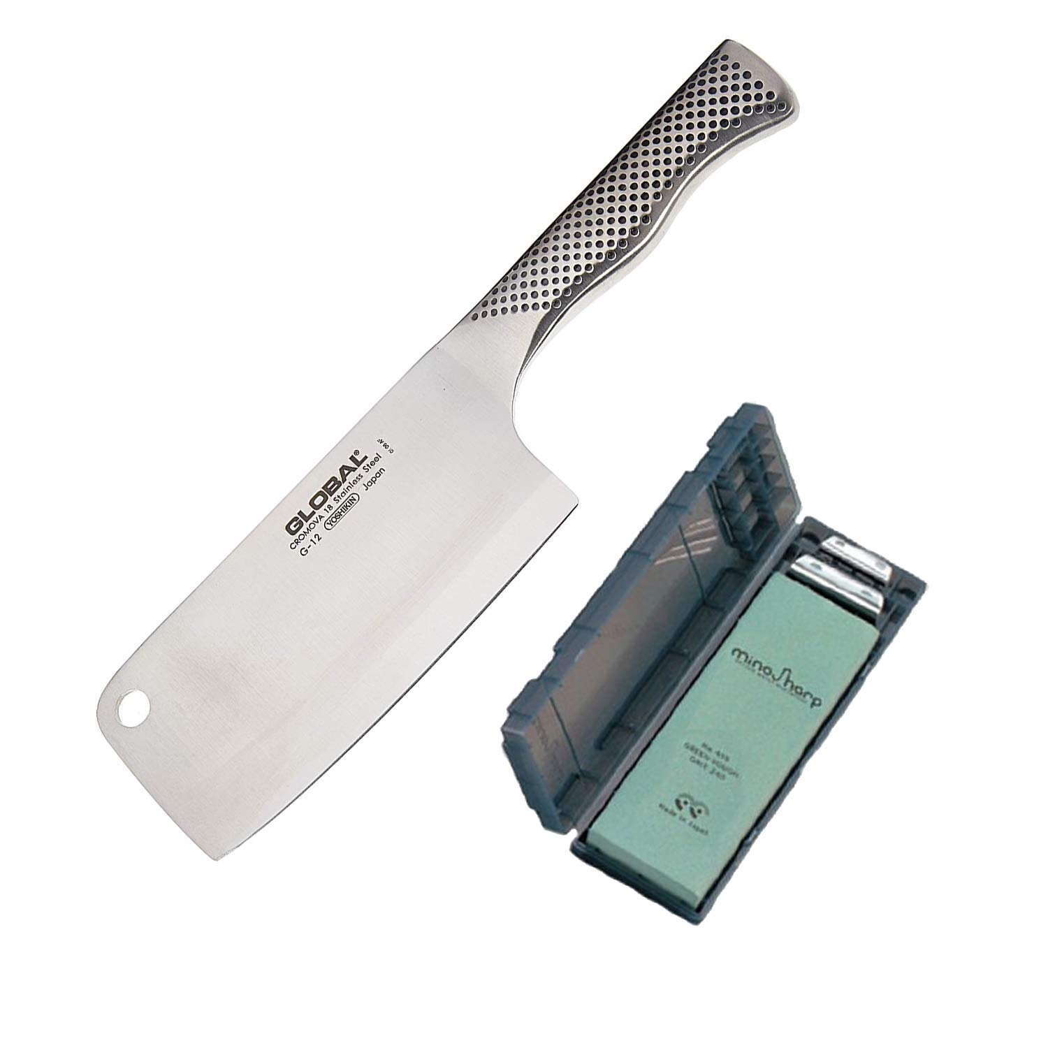 Global Classic 6-1/2-Inch Meat Cleaver with Rough Stone Knife Sharpening Kit