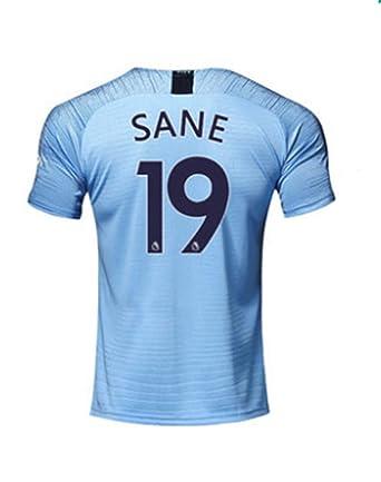 timeless design 7a8cc 3313b Amazon.com: Hsclxz Sane #19 Manchester City Men's Home 18/19 ...