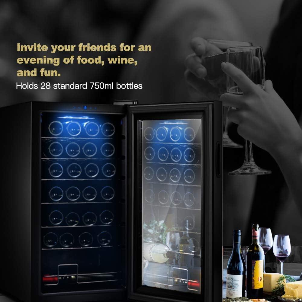 Weink/ühlschrank Getr/änkek/ühlschrank WIE Wine Cabinet 82 Liter 28 Flaschen 84cm H/öhe Freistehend 5-18 /°C Touch digital Temperatureinstellung LED-Innenraumbeleuchtung