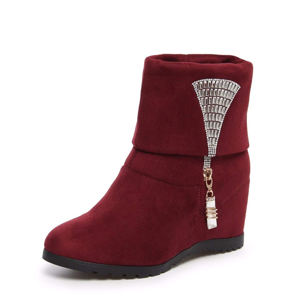 HBDLH Damenschuhe In Schuhen Stiefeln Meine Damen Herbst und Winter Bohrer Runde Kopf Ärmel Ritter Stiefel Nahen U - Stiefel Frauen - Stiefel 6 cm