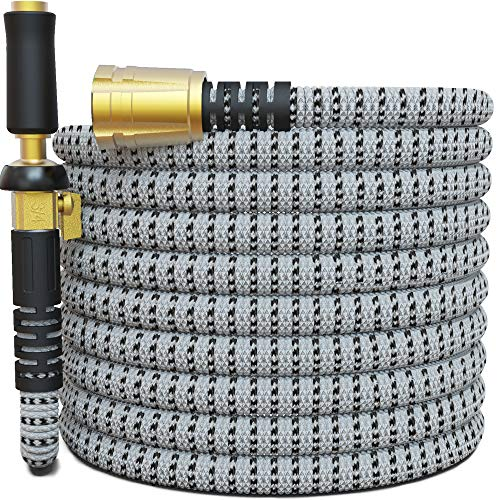 "TITAN Garden Hose - All New Expandable Water Hose with Triple Latex Core 3/4"" Easy Removal Solid Brass Fittings Expanding Extra Strength Fabric Flexible Hose with Jet Nozzle and Washers"