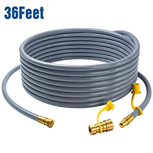 "GASPRO 36 feet Natural Gas Hose Extension with 3/8"" Male Flare Quick Connect/Disconnect for BBQ Gas Grill- 50,000 BTU Fits Low Pressure Appliance with 3/8"" Female Flare Fitting-CSA Certified"