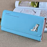 H&C Women's solid color: PU leather long gloves large-capacity multi card wallet , light blue