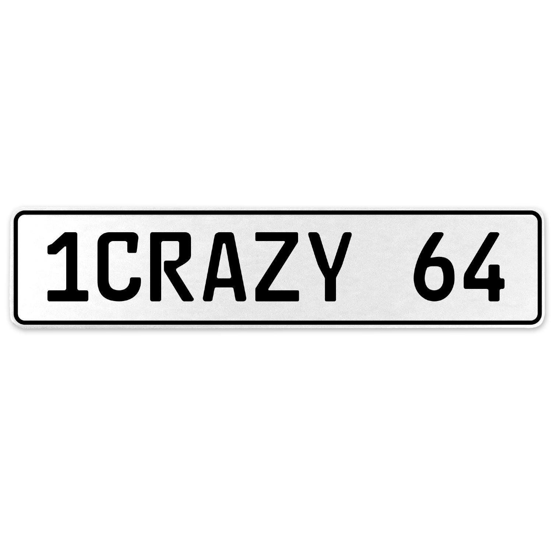 Vintage Parts 555750 1CRAZY 64 White Stamped Aluminum European License Plate