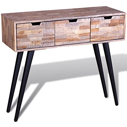 Amazoncom Festnight Console Table Storage Drawers TV Cabinet - Teak side table with drawer
