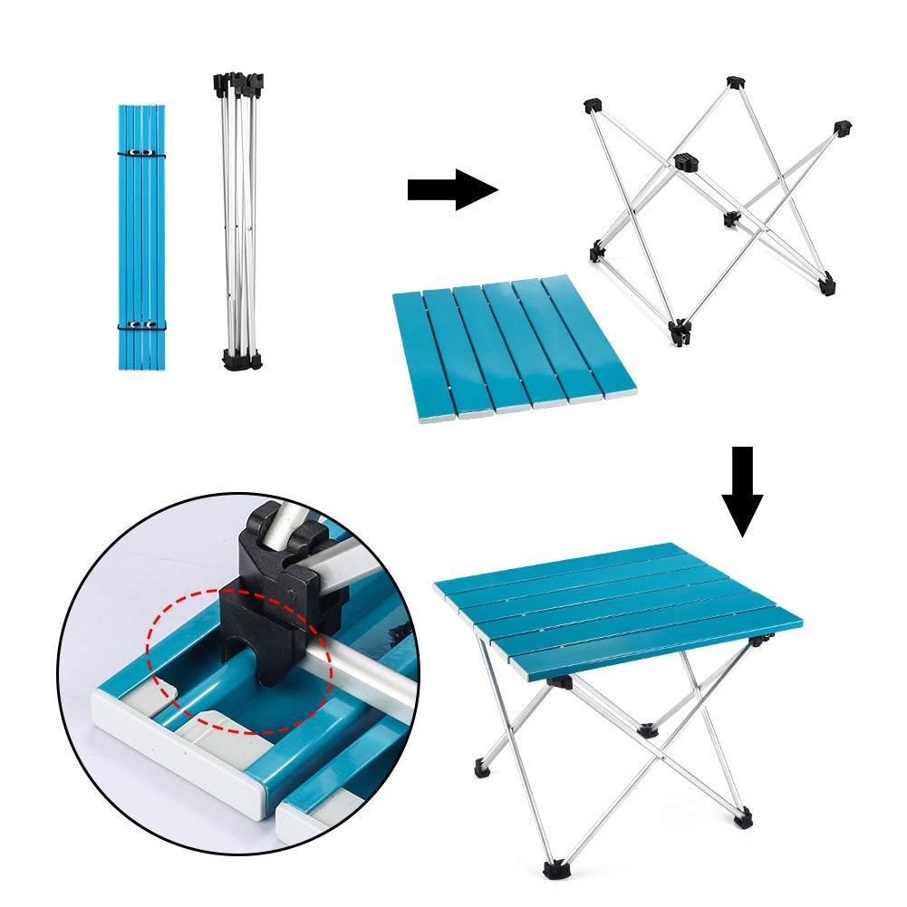 Outry Lightweight Aluminum Folding Table Portable Camp Table Outdoor Picnic Camping Backpacking Beach Patio Collapsible Foldable Table