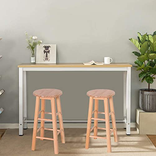 WATERJOY Wood Barstool, 24 Bar Stool High Stool Pine Round Bar Stools Wood Seat Bar Chair, Set of 2PCS for Kitchen Counter Bar Coffee Shop etc