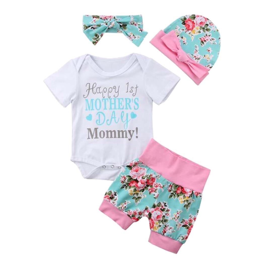 Neugeborenes Baby Mädchen Vatertag Outfits Mingfa 4pcs mit Strampelanzug Kleidung, Shorts, Kopfband mit Blumenmuster für 3–18Monate, 3M, blau, 1