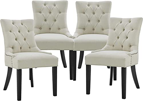 Tufted Fabric Dining Room Chairs Set of 4 Classical Living Room Chair