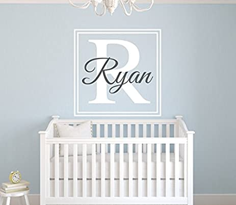 Amazoncom Wall Decal Letters Custom Square Boy Name Wall Decal - Monogram wall decal for kids